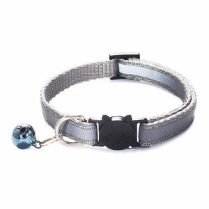 Colorful Nylon Reflective Cat Collar - Silver - JBCoolCats