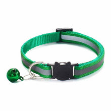 Load image into Gallery viewer, Colorful Nylon Reflective Cat Collar - Forest Green - JBCoolCats