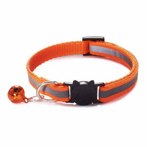 Colorful Nylon Reflective Cat Collar - Orange - JBCoolCats