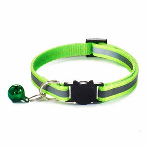 Colorful Nylon Reflective Cat Collar - Neon Green - JBCoolCats