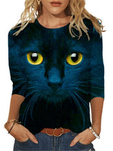 Load image into Gallery viewer, Cat Eyes Long Sleeve T-Shirt - Blue - JBCoolCats