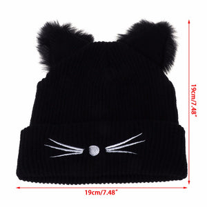 Cat Ears Knitted Beanie Hat - Size - JBCoolCats