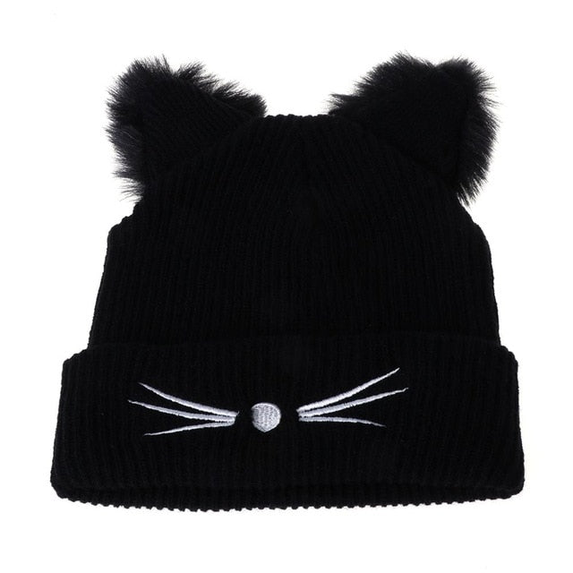 Cat Ears Knitted Beanie Hat - Black - JBCoolCats