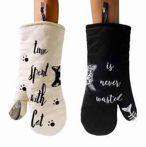 Cat Themed Heat Resistant Oven Mitts - Alt View- JBCoolStuff