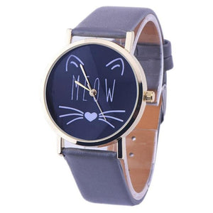 Cat Face Quartz Watch - Black - JBCoolCats