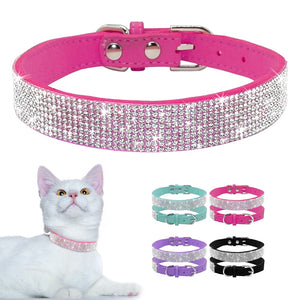 Rhinestone Suede Leather Cat Collar - Accessory - JBCoolCats