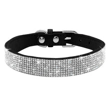 Load image into Gallery viewer, Rhinestone Suede Leather Cat Collar - Black - JBCoolCats