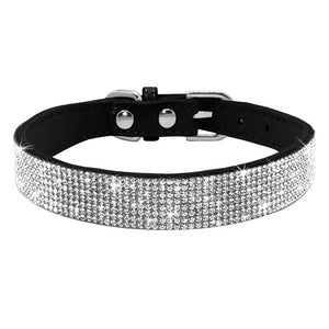 Rhinestone Suede Leather Cat Collar - Black - JBCoolCats