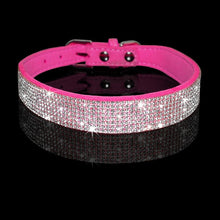 Load image into Gallery viewer, Rhinestone Suede Leather Cat Collar - Hot Pink - JBCoolCats