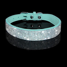 Load image into Gallery viewer, Rhinestone Suede Leather Cat Collar - Turquoise - JBCoolCats