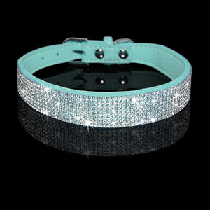 Rhinestone Suede Leather Cat Collar - Blue - JBCoolCats