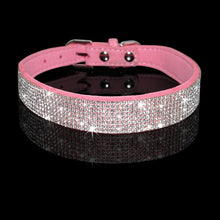 Load image into Gallery viewer, Rhinestone Suede Leather Cat Collar - Pink - JBCoolCats