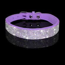 Load image into Gallery viewer, Rhinestone Suede Leather Cat Collar - Purple - JBCoolCats