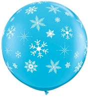 "36""Q Snowflakes, Robin's Egg with white print - Havin' A Party Wholesale"