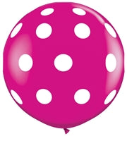 "36""Q Dots Big, Wildberry with White print - Havin' A Party Wholesale"