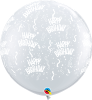"36""Q Happy Birthday, Clear Print - Havin' A Party Wholesale"