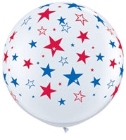 "36""Q White w. Red/Blue, Stars A Round Print - Havin' A Party Wholesale"