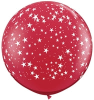 "36""Q Ruby Red, Stars A Round Print - Havin' A Party Wholesale"