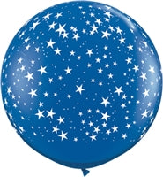 "36""Q Sapphire Blue, Stars A Round Print - Havin' A Party Wholesale"