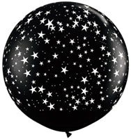 "36""Q Onyx Black, Stars A Round Print - Havin' A Party Wholesale"