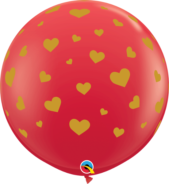 "36""Q Random Hearts A-Round Red with Gold (2 count)"