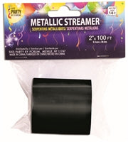 Mylar Streamer, Black - Havin' A Party Wholesale