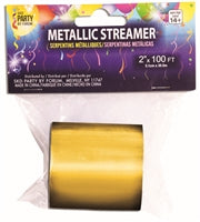 Mylar Streamer, Gold - Havin' A Party Wholesale