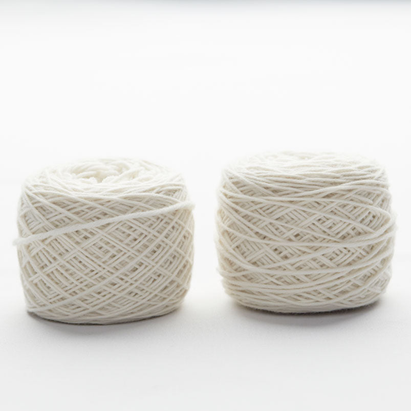 Undyed knitting wool ball