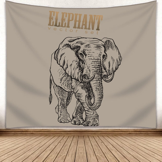 Elephant Sunset Tapestry