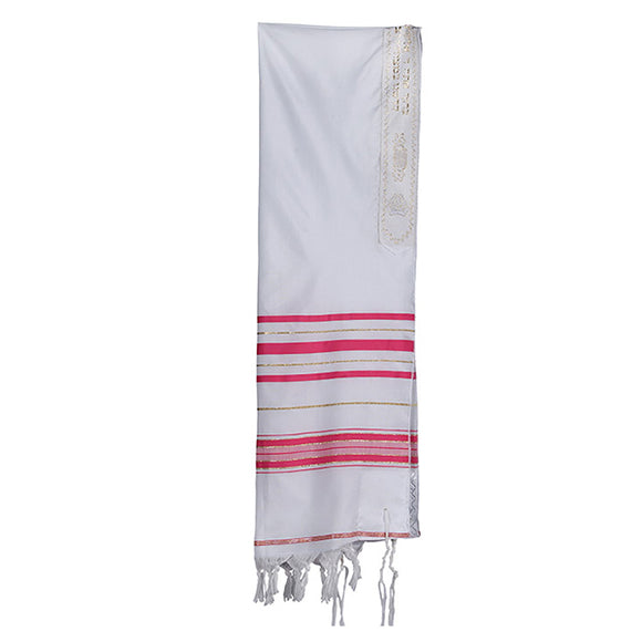 Girls Traditional Tallis in White Cotton with Bright Pink and Gold Stipes