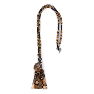 Long Beaded Pendant Necklace  - Animal Print Takam8047