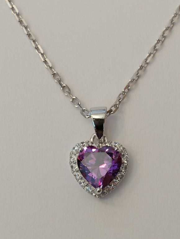 Sterling Silver Pendant - Purple & White CZ Heart L11