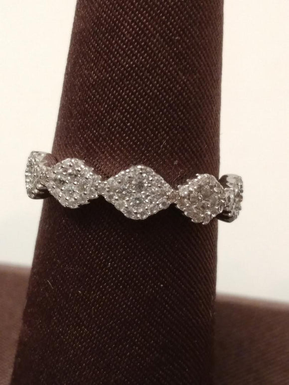 Sterling Silver Ring Micro Pave' 5 Halo Stations Cubic Zirconia Band - WSL59