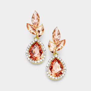 Costume Peach- Champagne Evening Drop Earring - with teardrop halo 398442
