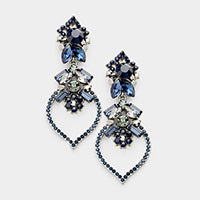 Blue Sapphire tone Costume Evening Earrings 413521