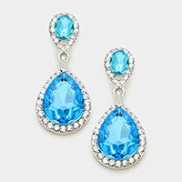 Deep Aqua Costume Double Teardrop Earrings w/ Halo  #331337