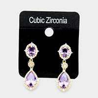 Amethyst Tone Crystal Drop Earrings with Cubic Zirconia Halo #390283