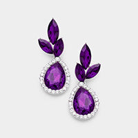 Costume Purple Evening Drop Earring - triple marquis leaf with teardrop halo 398446