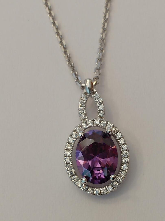 Sterling Silver Amethyst Oval CZ Pendant WS
