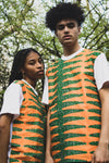 Green and Orange African Print Longline Top - Made By Lizzy