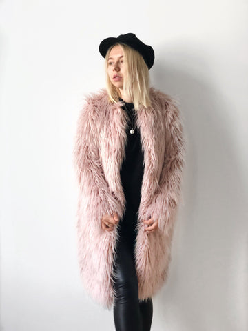 Powder Pink Faux Alpaca Fur Coat - LOOKHUNTER