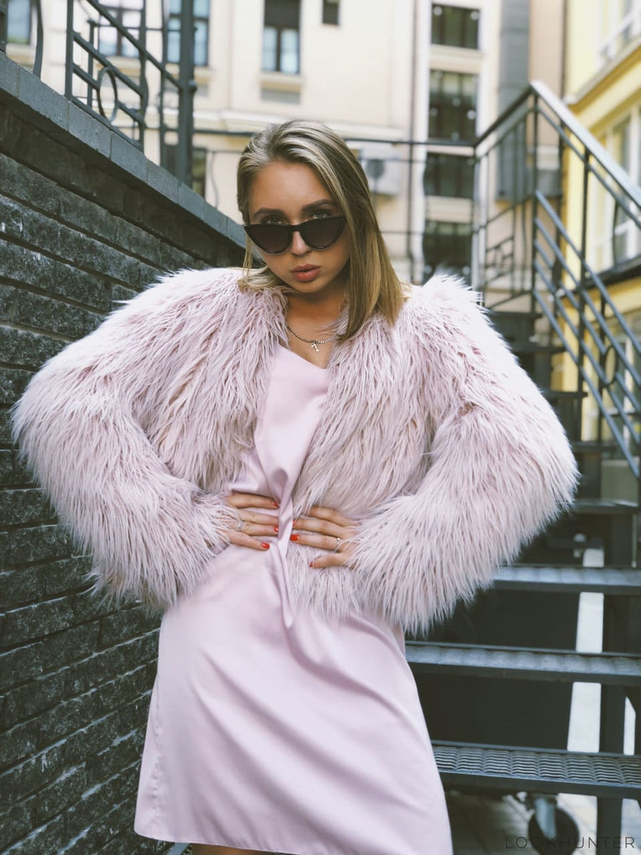 Pearl pink faux fur jacket - LOOKHUNTER