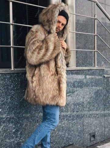 Hooded Faux Coyote Fur Jacket - LOOKHUNTER