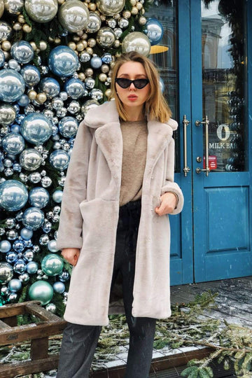 Lapel faux fur jacket beige - LOOKHUNTER