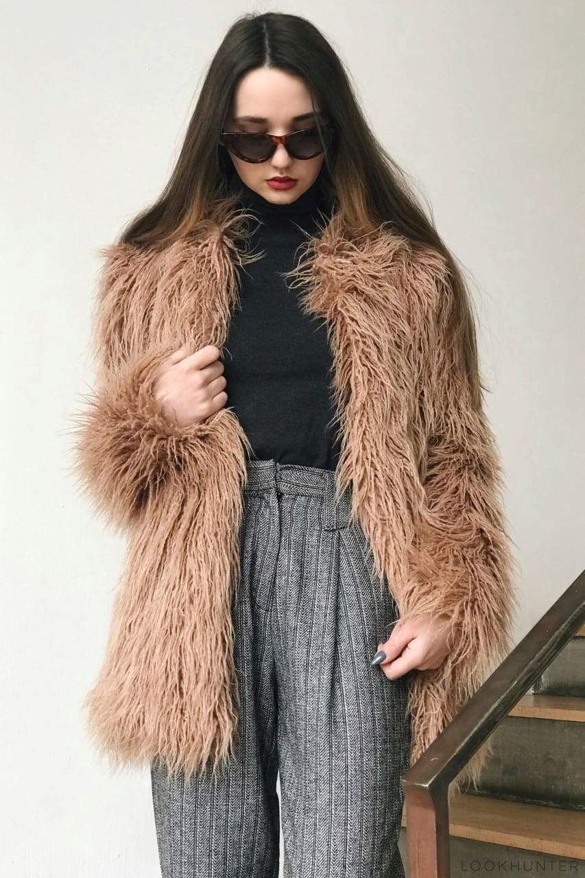 Faux Llama Fur Coat - LOOKHUNTER