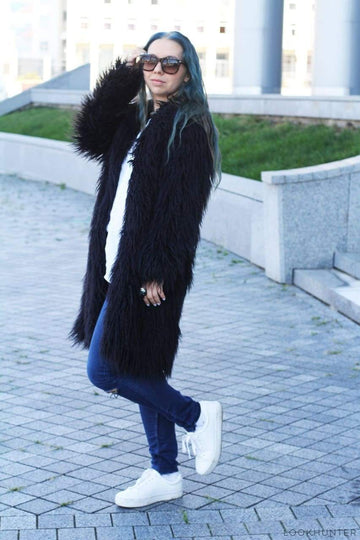 Black Shaggy Faux Llama Fur Midi coat - LOOKHUNTER