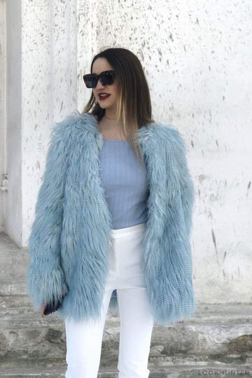 Cloudy Blue Shaggy Faux Fur jacket - LOOKHUNTER