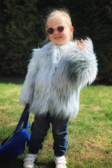 Cloudy Blue Kids Faux Fur Shaggy Jacket - LOOKHUNTER