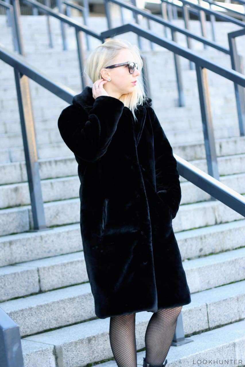 Black Faux Mink Fur Spread Collar Midi Coat - LOOKHUNTER