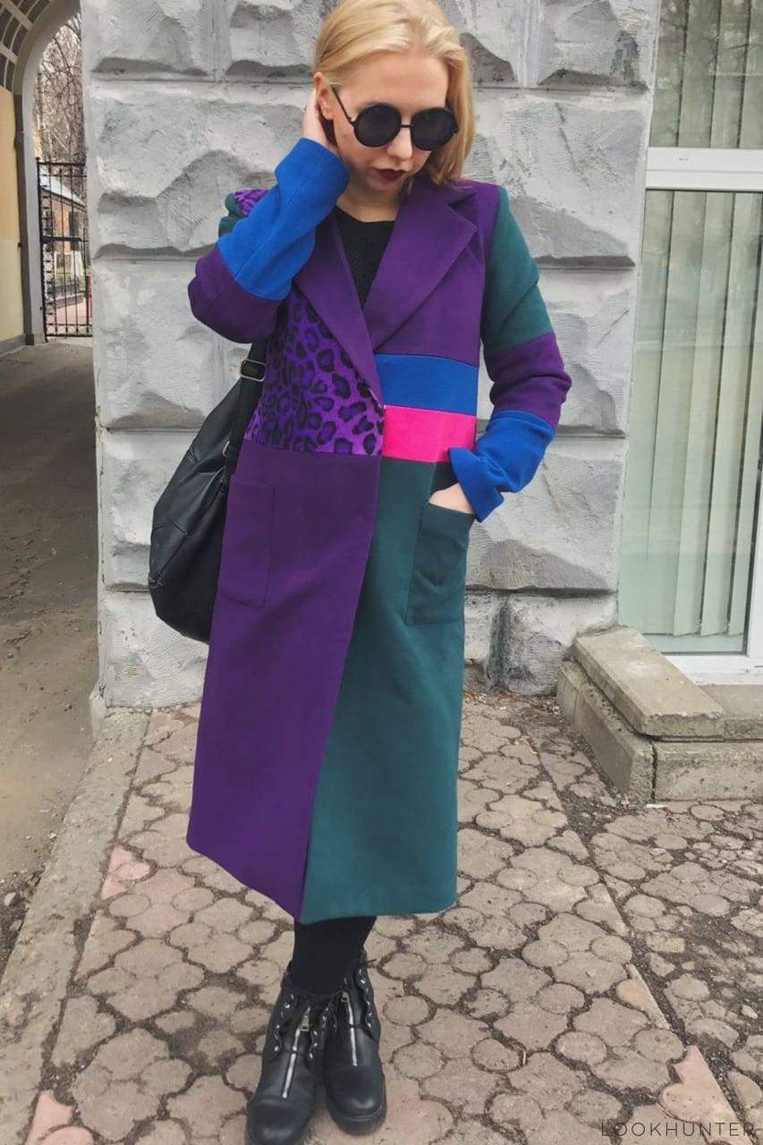 Colorblock Avantgarde Double Breasted Coat - LOOKHUNTER